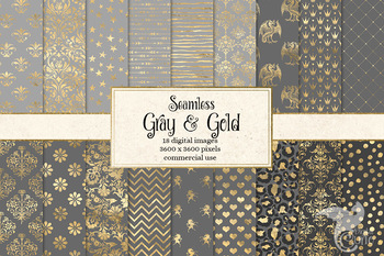 Gray and Gold Digital Paper, grey seamless patterns and backgrounds