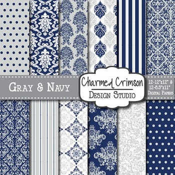 Gray and Navy Blue Damask Digital Paper 1310