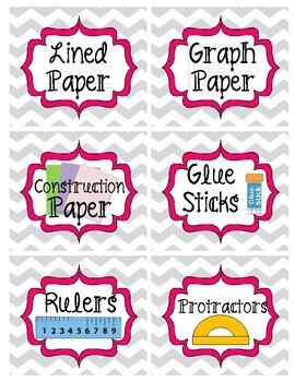 Gray and Pink Chevron Classroom Supply Labels