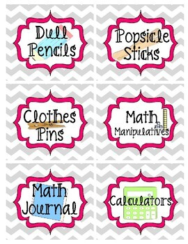Gray and Pink Chevron Classroom Supply Labels (72+ Labels)