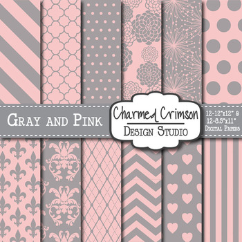 Gray and Pink Digital Paper 1032