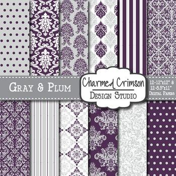 Gray and Purple Damask Digital Paper 1324