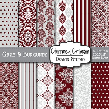 Gray and Red Damask Digital Paper 1404