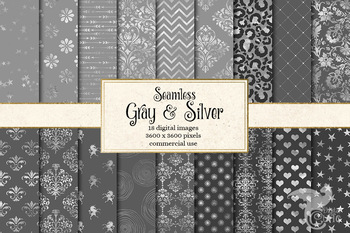 Gray and Silver Digital Paper, seamless patterns and backgrounds