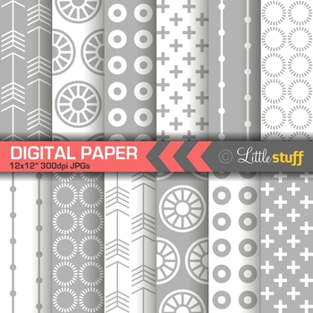 Gray and White Geometric Patterns Digital Paper Pack