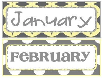 Gray and Yellow Calendar Pieces