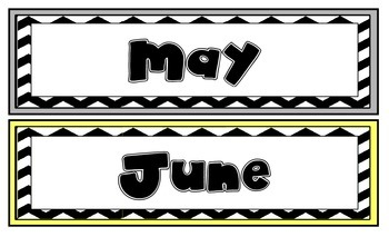 Gray and Yellow Chevron Calendar Months