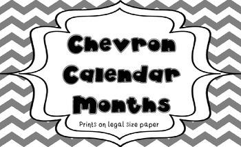 Gray and Yellow Chevron Calendar Months