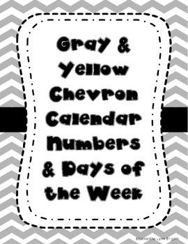Gray and Yellow Chevron Calendar Pieces