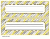 Gray and Yellow Desk Name Tags