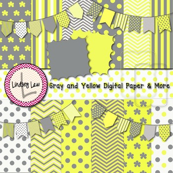 Gray and Yellow Digital Papers and More