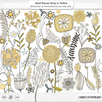 Modern Flower ClipArt, Grey and Yellow Floral Graphics, Hand Drawn Foliage