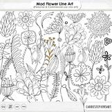Mod Flower Line Art Illustration, Leaves Clip Art Doodles, Floral Graphics