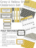 Gray and Yellow Tribal Decor Pack- EDITABLE