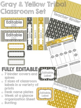Gray and Yellow Tribal Decor Pack- EDITABLE