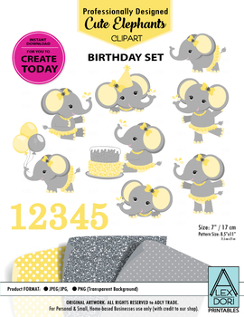 Gray yellow elephant clipart birthday clipart girl birthday cake