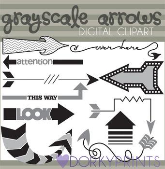 Grayscale Arrow Clip Art Images