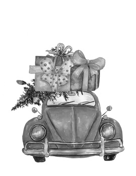 Grayscale Christmas Coloring Pages