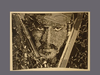 Grayscale Portrait-torn paper collage