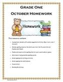 Grade 1 October Homework Calendar