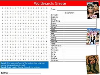 Grease Movie Wordsearch Puzzle Sheet Keywords Activity Music Musicals Movie