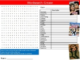Grease Movie Wordsearch Puzzle Sheet Keywords Activity Mus