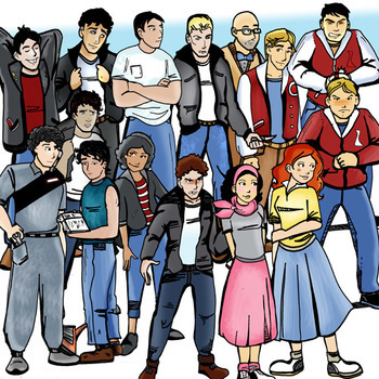 Greasers and Preps 1950's - 30 Pc. Clip-Art Set BW and Color