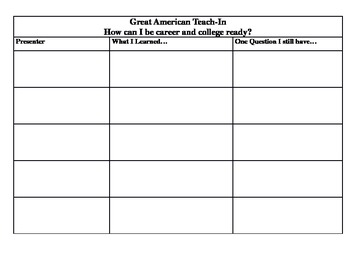 Great American Teach In Graphic Organizer