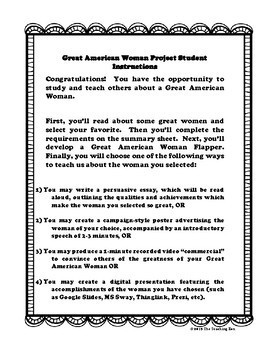 Great American Women Project for Women's History Month Updated and Improved!