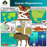Animal Migrations Clip Art - Both Animal and Map Illustrations Included