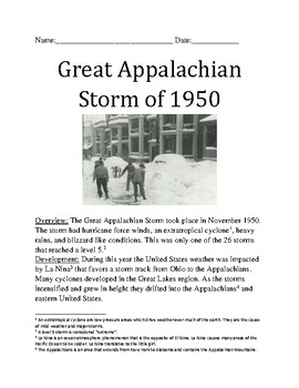 Great Appalachian Storm of 1950 - review article information with questions