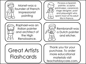Great Artists of the World Picture Word Flash Cards.