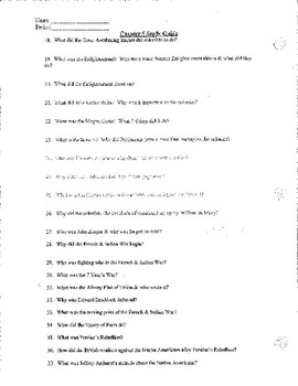 Great Awakening, Early Colonial Period Study Guide, Test, Answer Key
