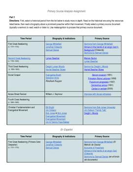 Great Awakening Primary Source Analysis & Activity
