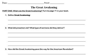 Great Awakening Worksheet ( TCI United States Through Industrialism)