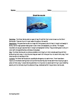 Great Barracuda - Review Article Questions Vocabulary Word Search