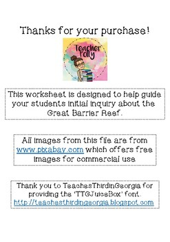 Great Barrier Reef Inquiry Worksheet