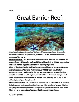 Great Barrier Reef - Lesson Informaional article facts his