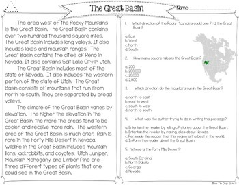 Great Basin {Differentiated Close Reading Passages & Questions}