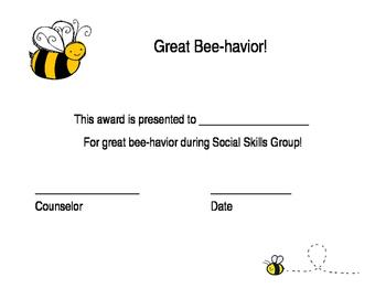 Great Bee-havior Certificate