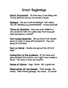 Great Beginnings for Writing