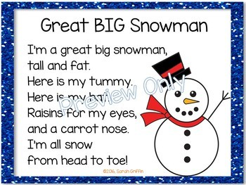 Build a Poem ~ Great Big Snowman - Pocket Chart Poetry Center