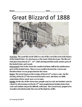 Great Blizzard of 1888 - lesson review article facts questions activities