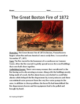 Great Boston Fire of 1872 - lesson informational article facts questions