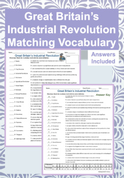 Great Britain Industrial Revolution Matching Quiz w/ Key (Test Review/Homework)
