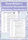 Great Britain Industrial Revolution Activity Matching with Answer Key