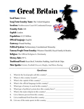 Great Britain Information & Worksheet