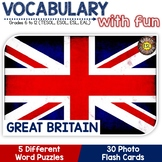 Great Britain 5 Word puzzles and 30 Photo Flash Cards