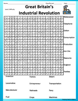 Great Britain's Industrial Revolution Word Search (Answer Key Included)