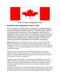 Great Canadians Biography project